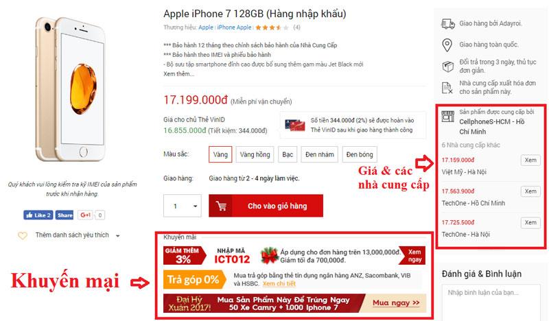So sánh giá và các mã khuyến mại khi mua Iphone trên Adayroi
