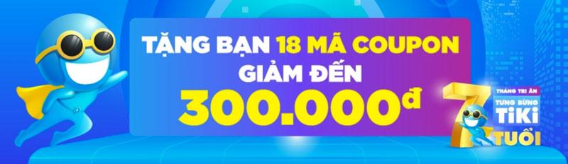 Tiki tặng 18 mã giảm giá, voucher mua hàng 300K tri ân khách hàng dịp sinh  nhật Tiki